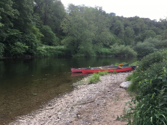 Canoes parked up on the Nore